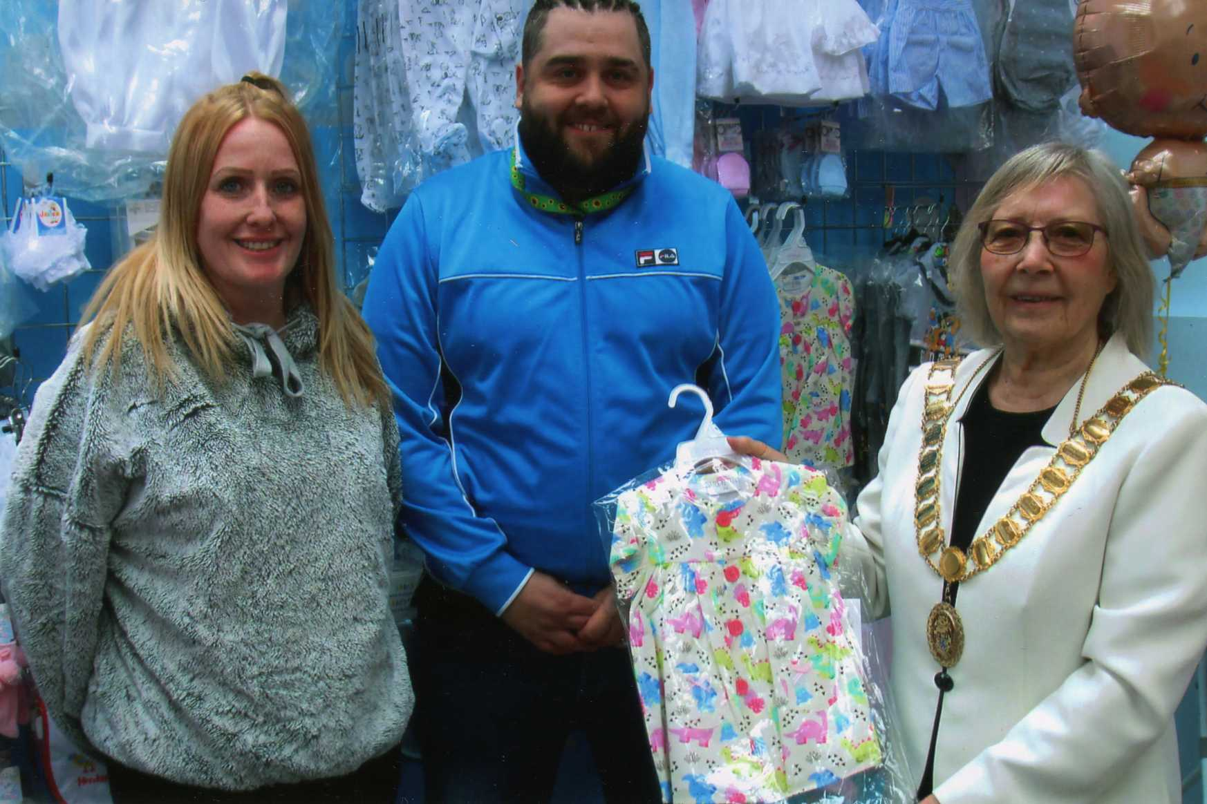 The Mayor of wellington, Cllr Patricia Fairclough, wishing The Baby Den the very best of luck as they opened this morning in Wellington Market