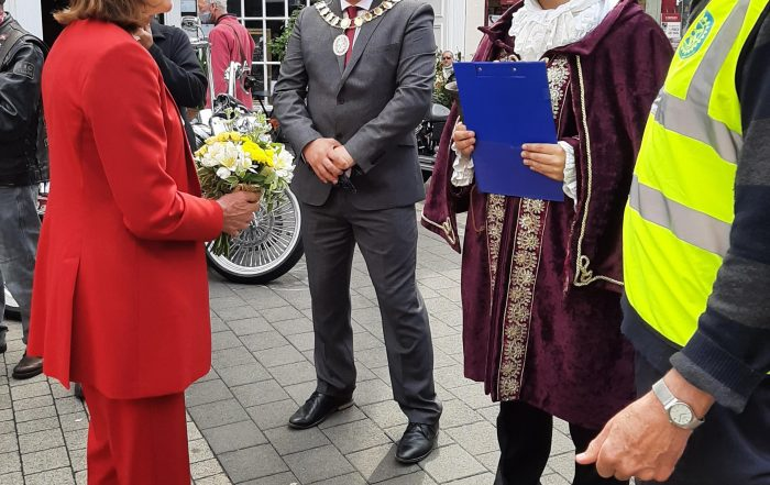Pictured the Mayor and Mayoress of Wellington , Cllr Paul and Gemma Davis, the Mayor of Telford Cllr Amrik Jhawar, Peter Murray from Wellington Rotary and Town Crier Liam McGrath.